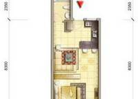 C1户型 50㎡ 1室1厅1卫1厨 50.00㎡