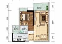 6栋B02、7栋A02户型 1室2厅1卫1厨 60.00㎡