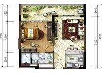 A1户型 1室2厅1卫1厨 67.00㎡