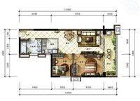 B7户型 2室2厅1卫1厨 85.00㎡