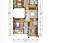 C新泰式联排别墅二层平面图 4室4厅6卫1厨 215.00㎡
