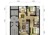 百合苑B1户型 2室2厅1卫1厨 85.00㎡