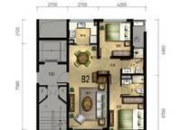 百合苑B2户型 2室2厅2卫1厨 90.00㎡