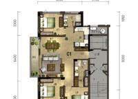 百合苑C1户型 3室2厅2卫1厨 125.00㎡