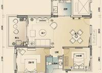 公寓B1户型 2室2厅1卫1厨 94.00㎡