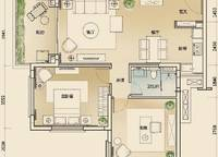 公寓B2户型 2室2厅1卫1厨 92.00㎡