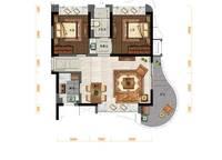 B户型:2室2厅1卫77平米 2室2厅1卫1厨 77.00㎡