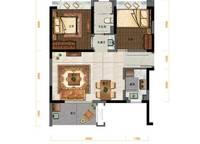E户型:2室2厅1卫74平米 2室2厅1卫1厨 74.00㎡