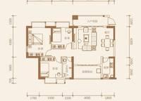 1-B户型:3室2厅1卫102平米 3室2厅1卫1厨 102.00㎡