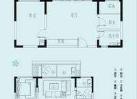 半山公寓户型图1 1室1厅1卫1厨 63.00㎡