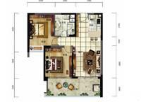 雅居乐月亮湾洋房户型图C1 2室2厅1卫1厨 91.00㎡