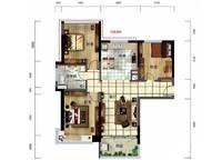 雅居乐月亮湾洋房户型图D1 3室2厅1卫1厨 99.00㎡