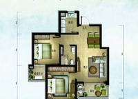 棕榈苑 G7-2户型 两室两厅一卫 87.07㎡ 2室2厅1卫1厨 87.07㎡