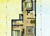 棕榈苑 G1-2户型 两室两厅一卫 96.61㎡ 2室2厅1卫1厨 96.61㎡
