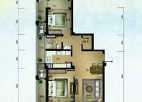 棕榈苑 G1-1户型 两室两厅一卫 97.14㎡ 2室2厅1卫1厨 97.14㎡