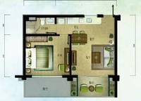 棕榈苑 G5-4户型 一室两厅一卫 61.36㎡ 1室2厅1卫1厨 61.36㎡