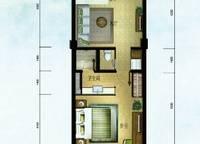 棕榈苑 G1-3户型 一室两厅一卫 64.04㎡ 1室2厅1卫1厨 64.04㎡