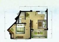 棕榈苑 G5-1户型 一室两厅一卫 68.34㎡ 1室2厅1卫1厨 68.34㎡
