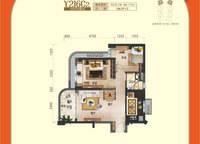 一线海景洋房户型图Y216C2 2室2厅1卫1厨 76.76㎡