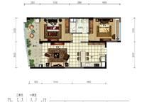 A13蔚蓝星宸二期A2户型 2室2厅1卫1厨 102.00㎡