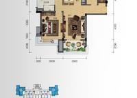 听海洋房D户型 3室2厅1卫1厨 94.00㎡