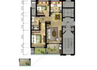 丹桂苑B1户型 两室两厅一卫 85㎡ 2室2厅1卫1厨 85.00㎡