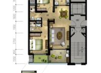 丹桂苑B2户型 两室两厅两卫 88㎡ 2室2厅2卫1厨 88.00㎡