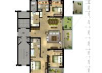 丹桂苑C1户型 三室两厅两卫 137㎡ 3室2厅2卫1厨 137.00㎡