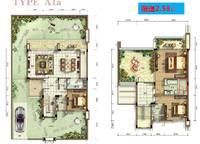 A01果岭牧歌A1a型别墅户型图 3室2厅3卫1厨 182.00㎡