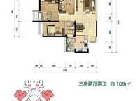 5Ea3户型 三房两厅两卫 109㎡ 3室2厅2卫1厨 109.00㎡