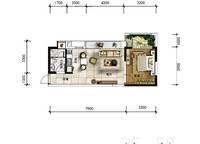 A18户型 一房一厅一卫 56㎡ 1室1厅1卫1厨 56.00㎡