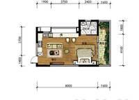 A15b 开间 52㎡ 1室0厅1卫1厨 52.00㎡