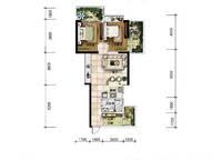 A13户型 两房两厅一卫 77㎡ 2室2厅1卫1厨 77.00㎡