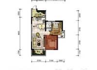 A16户型 两房两厅一卫 73㎡ 2室2厅1卫1厨 73.00㎡
