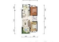 A8户型 两房两厅一卫 88㎡ 2室2厅1卫1厨 88.00㎡