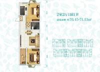 G-1-b户型 两室两厅一卫 70㎡ 2室2厅1卫1厨 70.00㎡