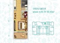 G-2户型 开间 39㎡ 1室0厅1卫1厨 39.00㎡