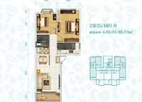 H-1户型 两室两厅一卫 89㎡ 2室2厅1卫1厨 89.00㎡