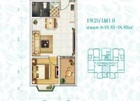 H-3户型 一室一厅一卫 48㎡ 1室1厅1卫1厨 48.00㎡