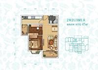 J-2户型 两室两厅一卫 66㎡ 2室2厅1卫1厨 66.00㎡