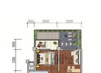 F5户型 一房一厅一卫 47.4㎡ 1室1厅1卫1厨 47.40㎡