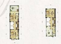 联排别墅T1-a户型三、四层 三室两厅四卫 232㎡ 3室2厅4卫1厨 232.00㎡
