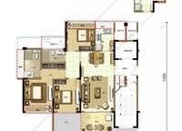 椰林晓风C1户型 3室2厅2卫1厨 116.00㎡